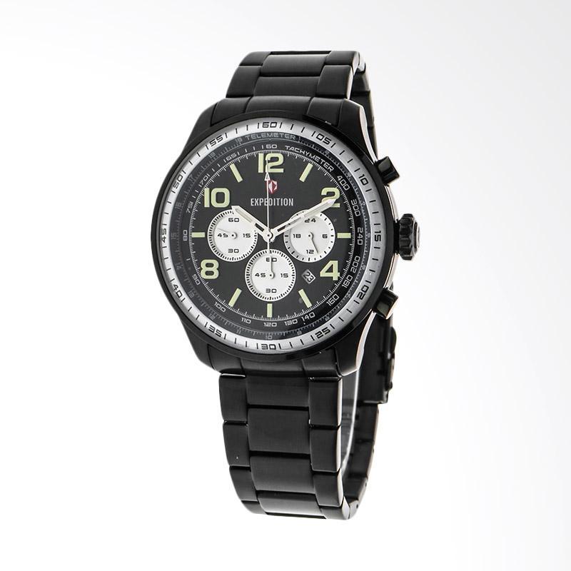 Expedition Man Chronograph Black Dial Stainless Steel Jam Tangan Pria - Black EXF-6728-MCBIPBABU
