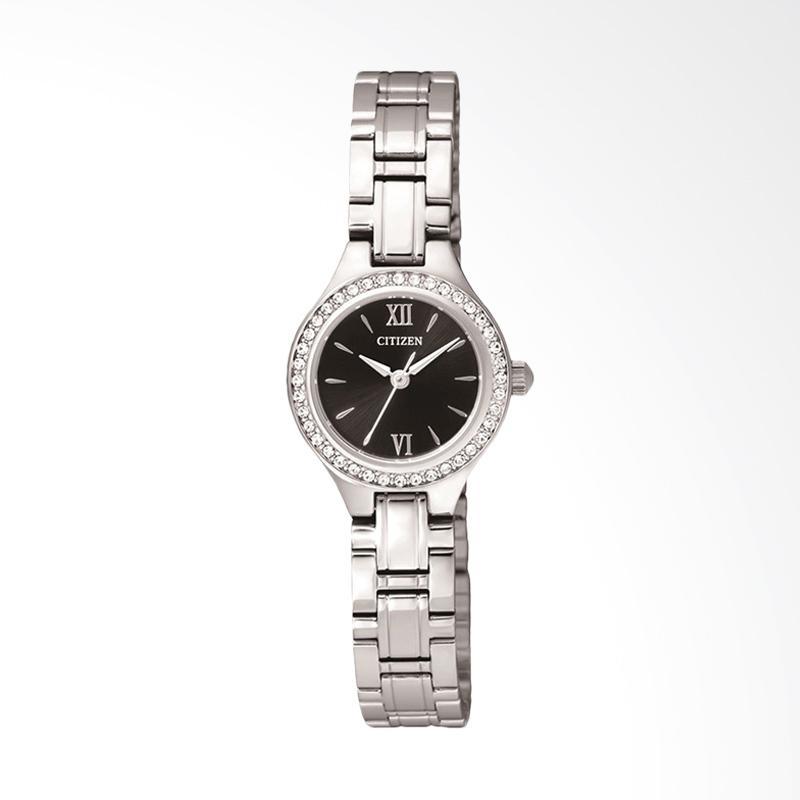 Citizen EJ6091-51E Women Quartz Black Dial Stainless Steel Watch Jam Tangan Wanita - Silver