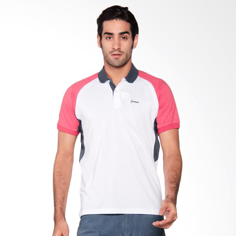 Hammer Men Fashion Polo Shirt Pria - White / Red / Navy [G1PF417W1]