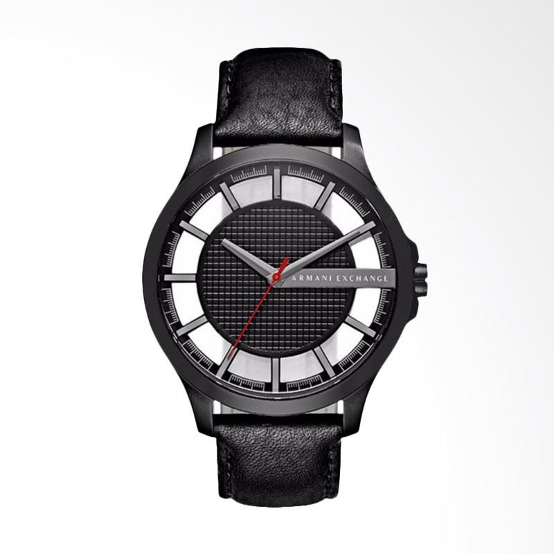 Armani Exchange Skeleton Dial Stainless Steel Case Leather Strap  Jam Tangan Pria -Black AX2180