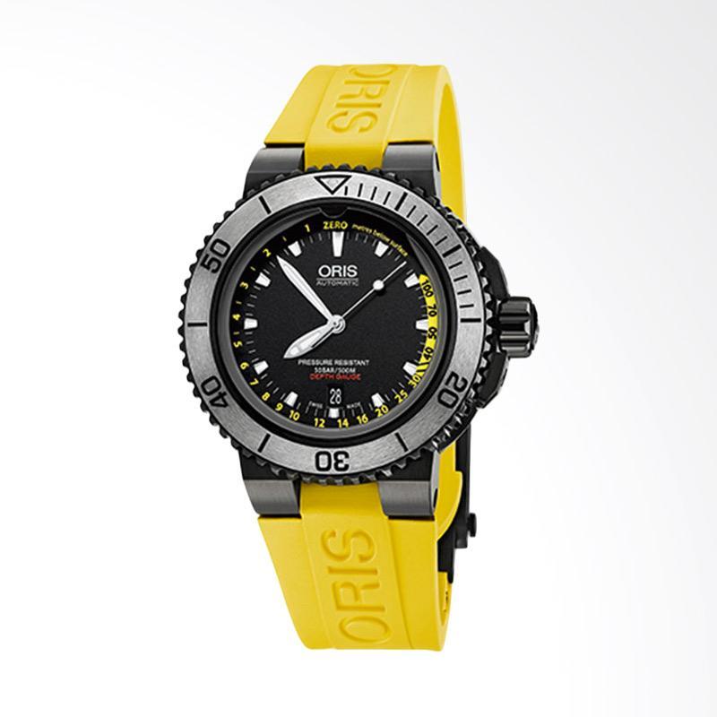 ORIS Aquis Depth Gauge Rubber Strap Set Jam Tangan Pria - Black Yellow 733 7675 4754 4 26 33BEB
