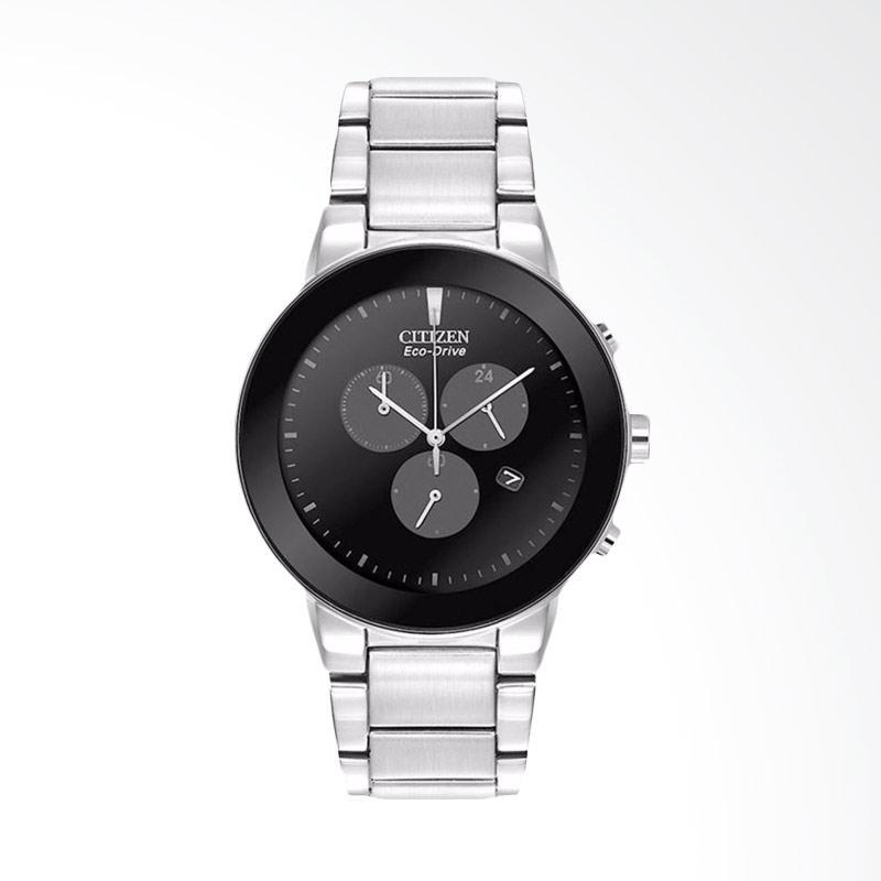 Citizen Eco-Drive Axiom Chronograph Black Dial Stainless Steel Jam Tangan Pria AT2240-51E