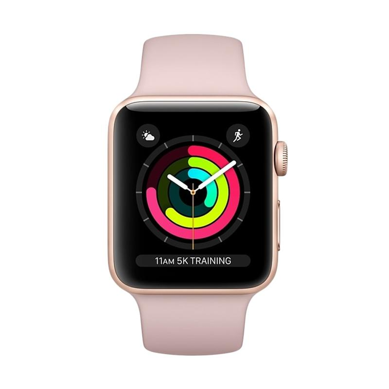Apple Watch Series 3 GPS Gold Alum with Sand Sport Band Smartwatch - Pink [38mm]