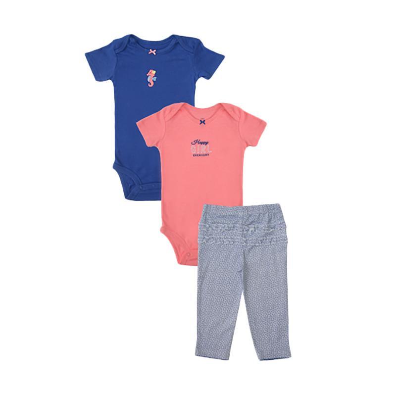 Bearhug Happy Girl Set Bayi Perempuan - Biru [Size 6 Month/3 pcs]