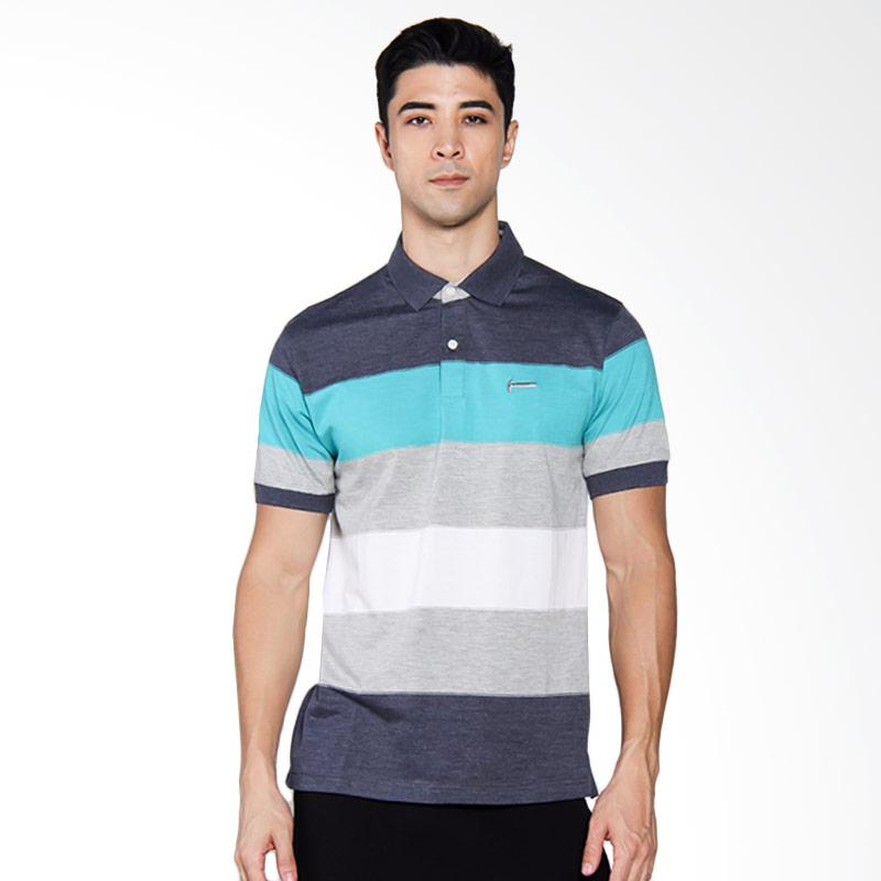 Hammer Stripe Poloshirt Atasan Pria - Navy White [M71 F1PS400N1]