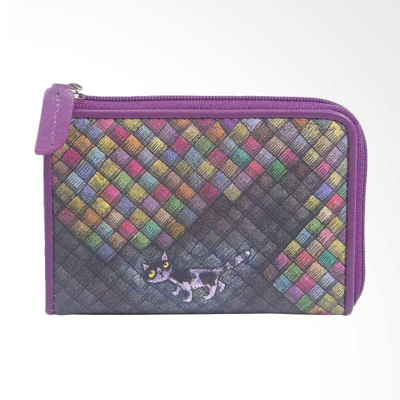 IPC Mansion Selected Colourful Grid Cat Coin Purse Dompet Wanita - Purple