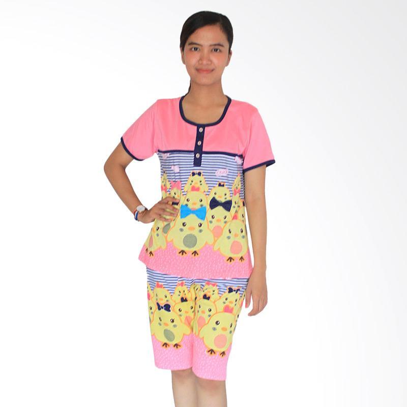 Aily 3582 Celana Pendek Setelan Baju Tidur Wanita - Pink