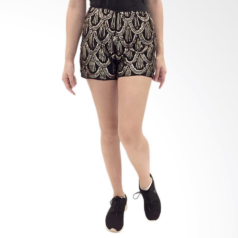 harga Qyrana Sequinced Shorts Celana Wanita - Black Gold Blibli.com