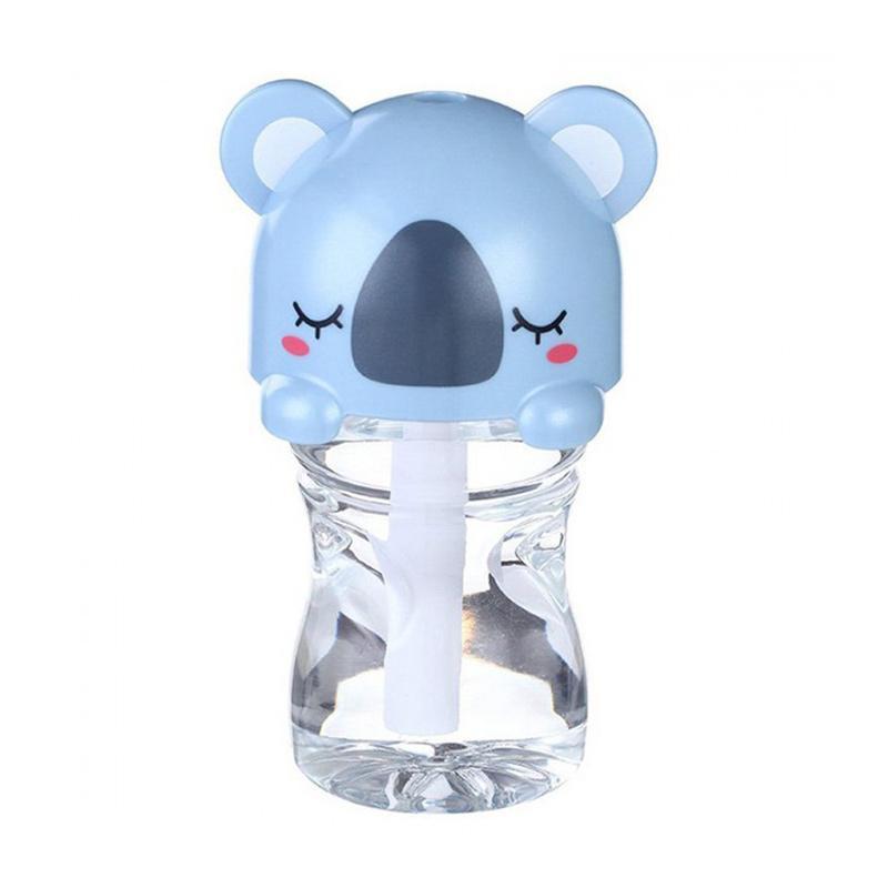 TOKUNIKU USB Mini Portable LED Cartoon Bottle Caps  Humidifier - Biru [280 mL]