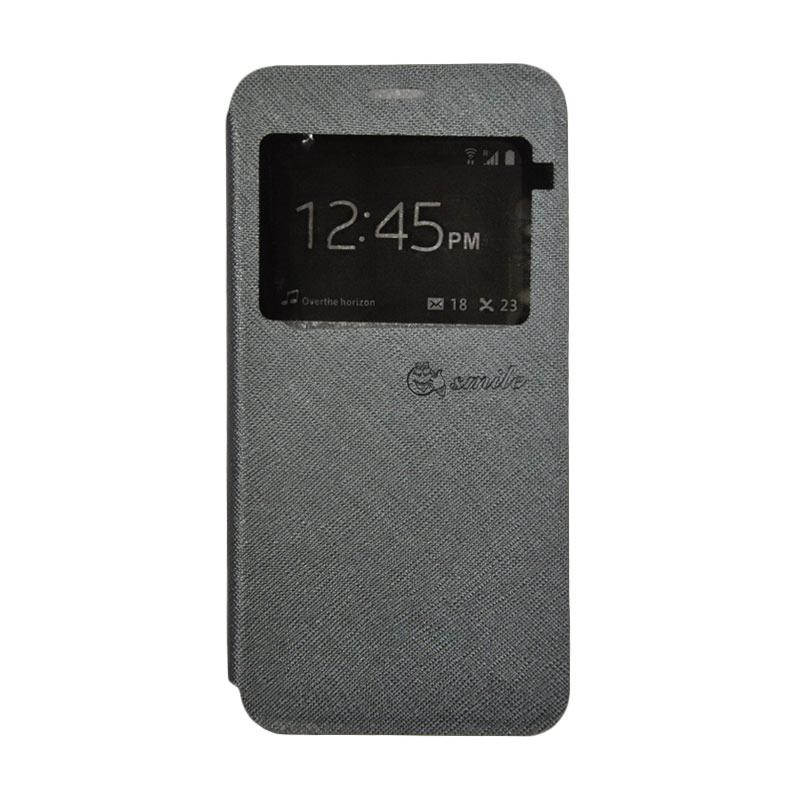 SMILE Leather Standing Flip Cover Casing for VIVO Y21 - Grey