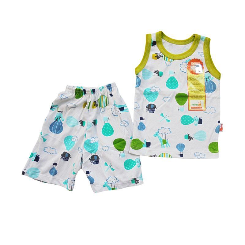Velvet Junior Baloon World Series Setelan Baju Tidur Bayi - White Green