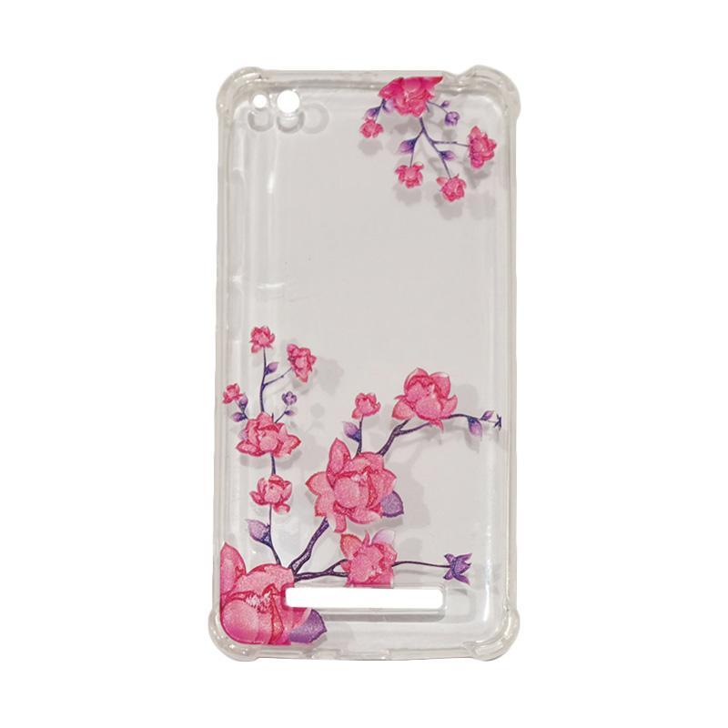QCF Softcase Anti Crack Anti Shock Xiaomi Silicone Casing Gambar Flower Bunga Pink + FREE Bumper Karet Animasi Random for Xiaomi Redmi 4A