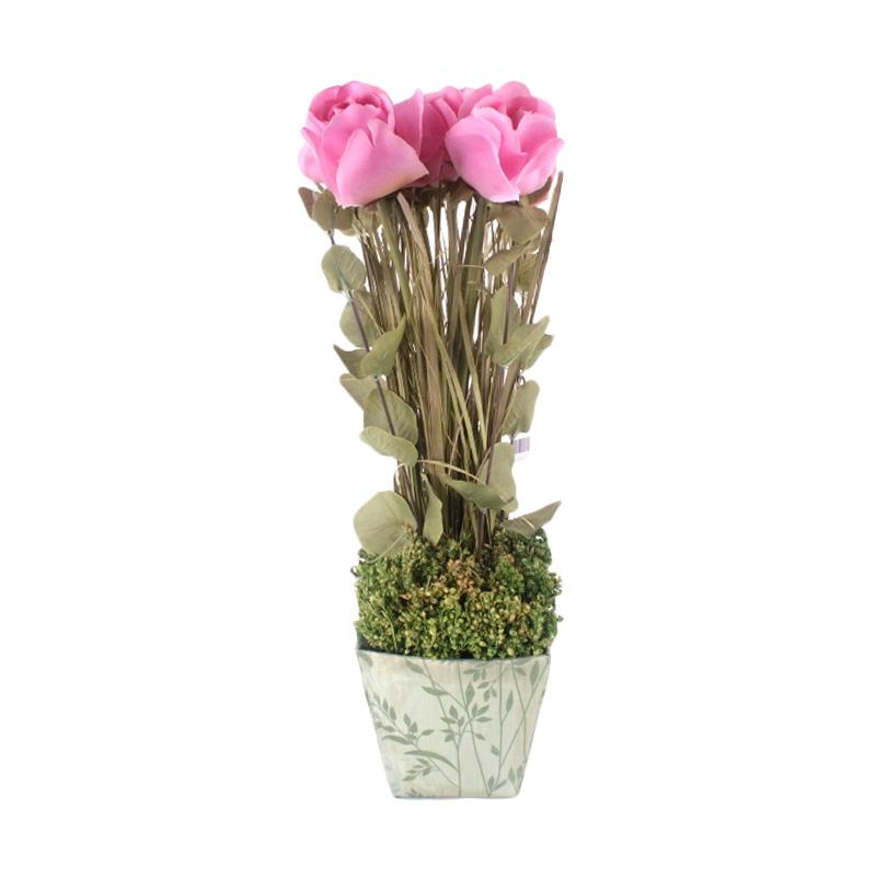 Thema Home 1308 A French Roses In SQ PRN ORG Planters Bunga - Pink
