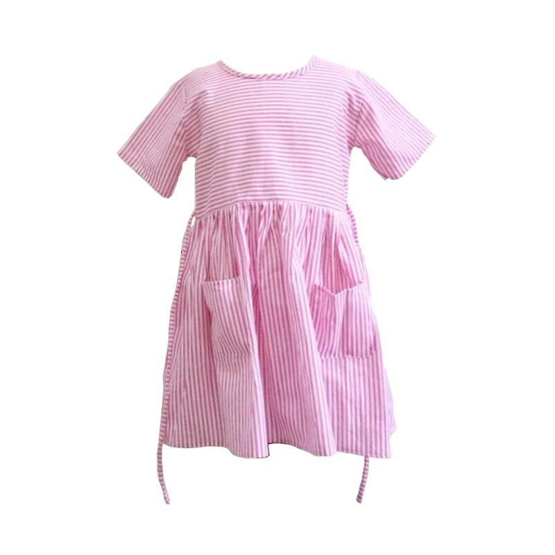 Kirana Kids Wear Dona Stripe Dress Anak - Pink