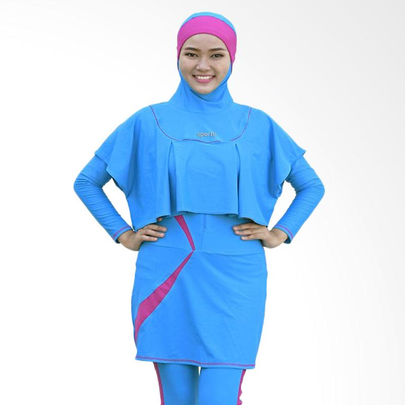 SPORTE Baju Renang Muslimah - Biru Pink [SR 11]