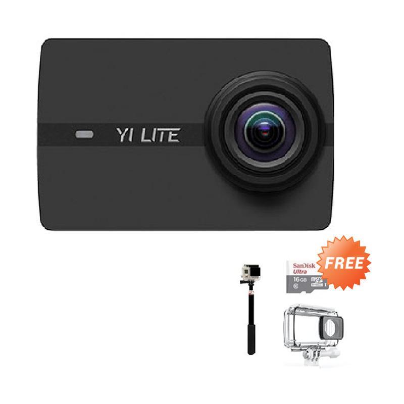 harga Xiaoyi YI LITE Action Camera - Black + Free Waterproof + Sandisk 32GB + Monopod + T-Shirt Blibli.com