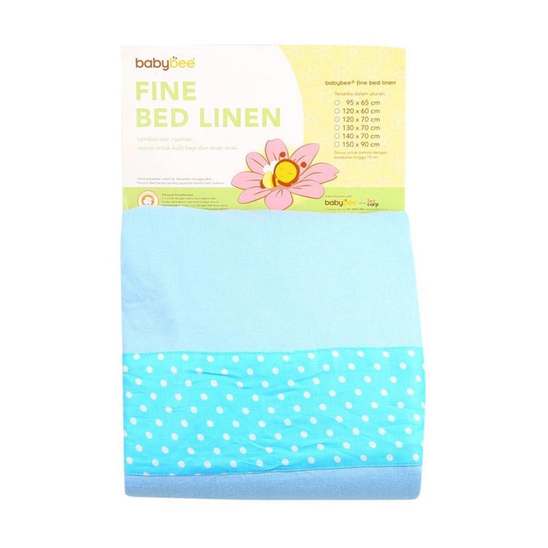 Babybee Fine Bed Linen Polkadot Alas Tidur Bayi - Blue [120x60 cm]