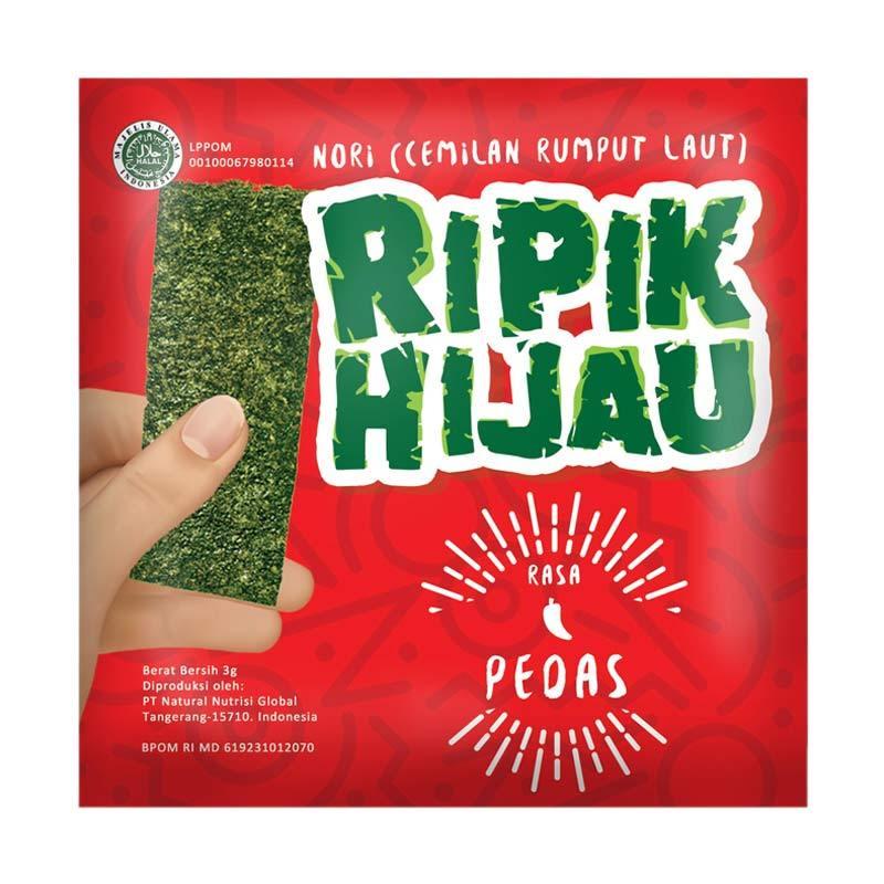 Ripik Hijau Rumput Laut Rasa Pedas Makanan Ringan 3 gr x 60 PCS (1 Karton)