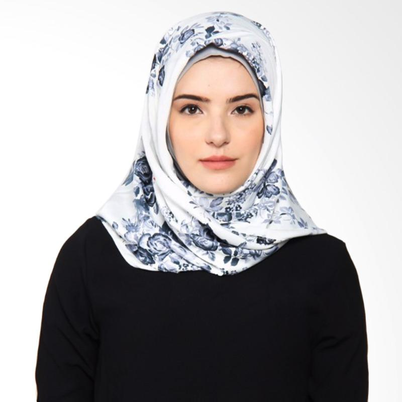 Rauza Rauza Charissa Midi Jilbab Segiempat - Putih Hitam