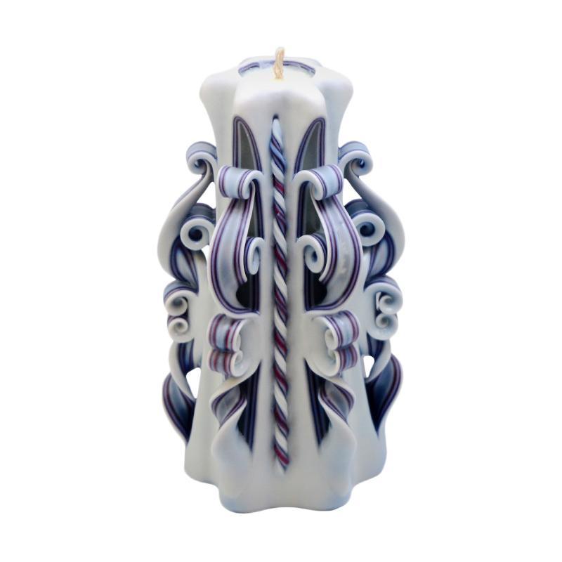 Indische Candle House Turquoise December Lilin Ukir [8 Inch] Handmade dan Organik Wax