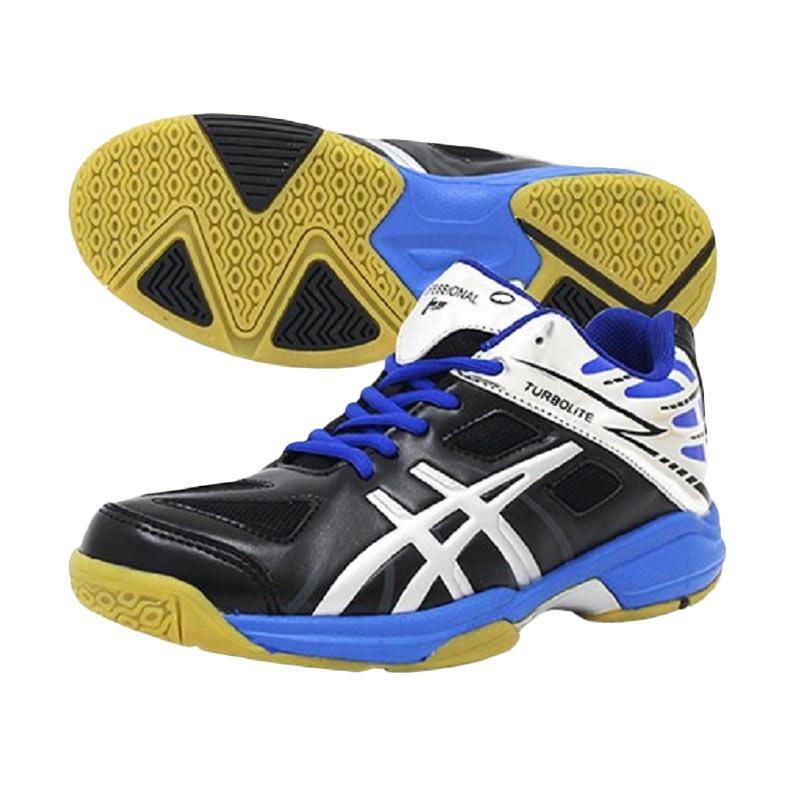 Professional Turbolite New D Sepatu Volley Pria - Black/Silver/R.Blue