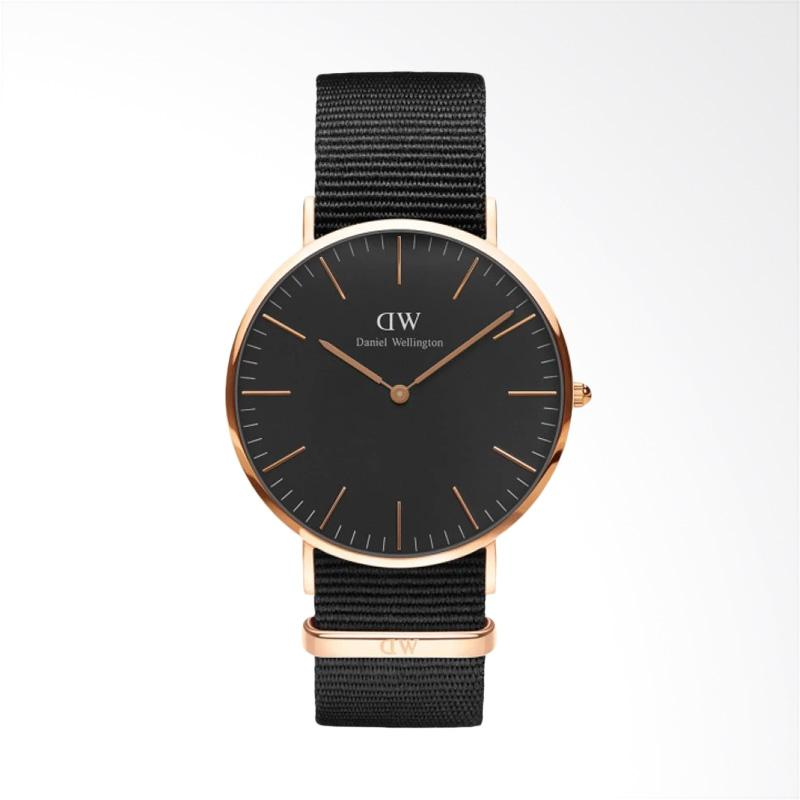 Daniel Wellington Classic Black Cornwall Strap Nylon Jam Tangan Pria - Hitam Ring Rose Gold [40 mm]