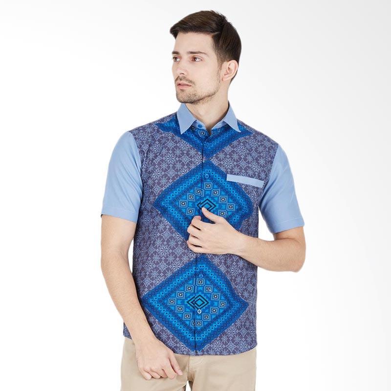 EN-ZY Men Shirts Pyramid Kemeja Batik Pria Lengan Pendek - Grey