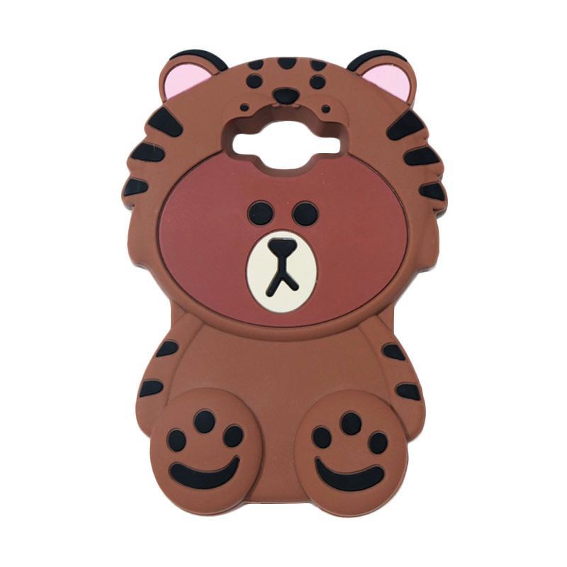 QCF Karakter 4D Beruang Kostum Singa Silicone Softcase Casing for Samsung Galaxy J2 Prime - Coklat