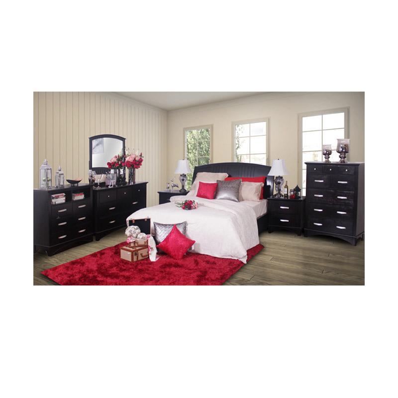 Thema Home 1081 VX Bed Hb Ibiza Bedroom Sets - Chocolate [Wilayah Surabaya]