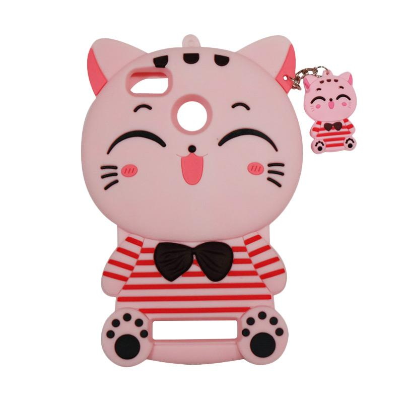 QCF Softcase 4D Karakter Kucing Lucky Cat Pink Silicone 4D Casing for Xiaomi Redmi 3 Pro - Pink