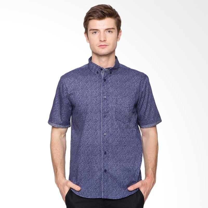 A&D Fashion Casual Short Sleeve Batik Kemeja Pria - Navy [Ms 994]