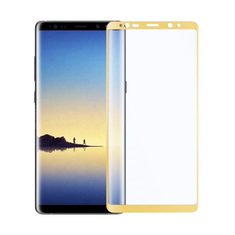QCF Tempered Glass Warna Full Gold (Depan Saja) Screen Protector Melengkung for Samsung Galaxy Note 8 Anti Gores Kaca - Gold