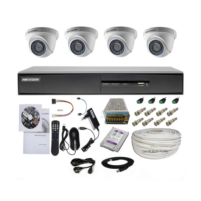 harga Paket Hikvision Turbo HD DVR 8CH + 4 Cam Indoor 2.0 MP + 1 TB HDD + 100 m Cable Kamera CCTV Blibli.com