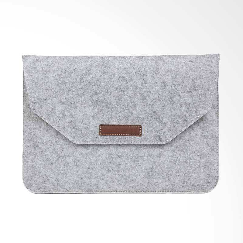 Cooltech MacBook Sleeve Simply Wool Felt Softcase Tas Laptop - Grey [13 Inch] + Free Pouch