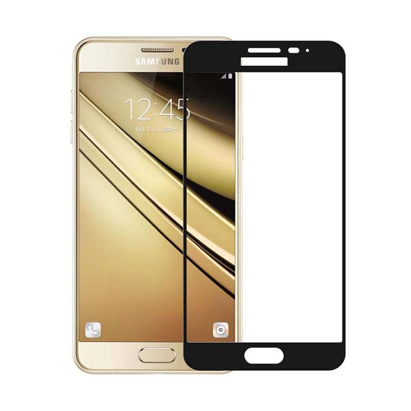 QCF Tempered Glass Warna Full Black (Depan Saja) Screen Protector for Samsung Galaxy J3 Pro 2016 / J3110 Anti Gores Kaca - Hitam