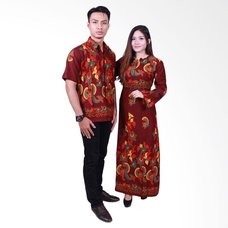 Batik Putri Ayu Solo SRG503 Sarimbit Gamis Baju Batik - Cokelat