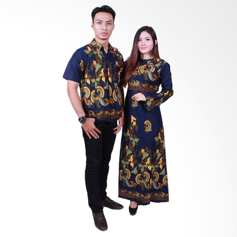 Batik Putri Ayu Solo SRG503 Sarimbit Gamis Baju Batik - Navy
