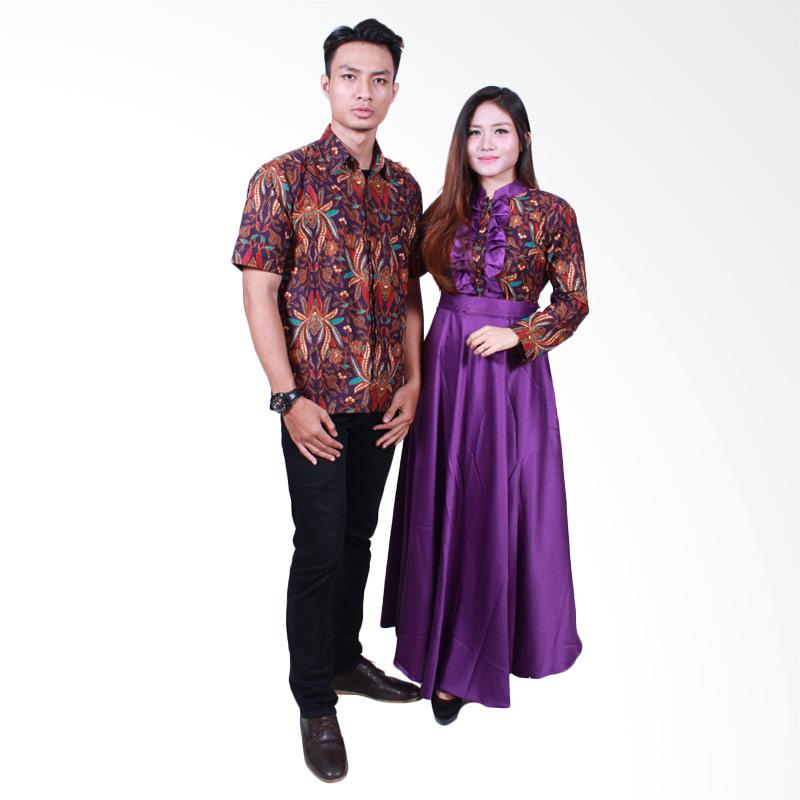 Batik Putri Ayu Solo SRG504 Batik Sarimbit Gamis - Ungu