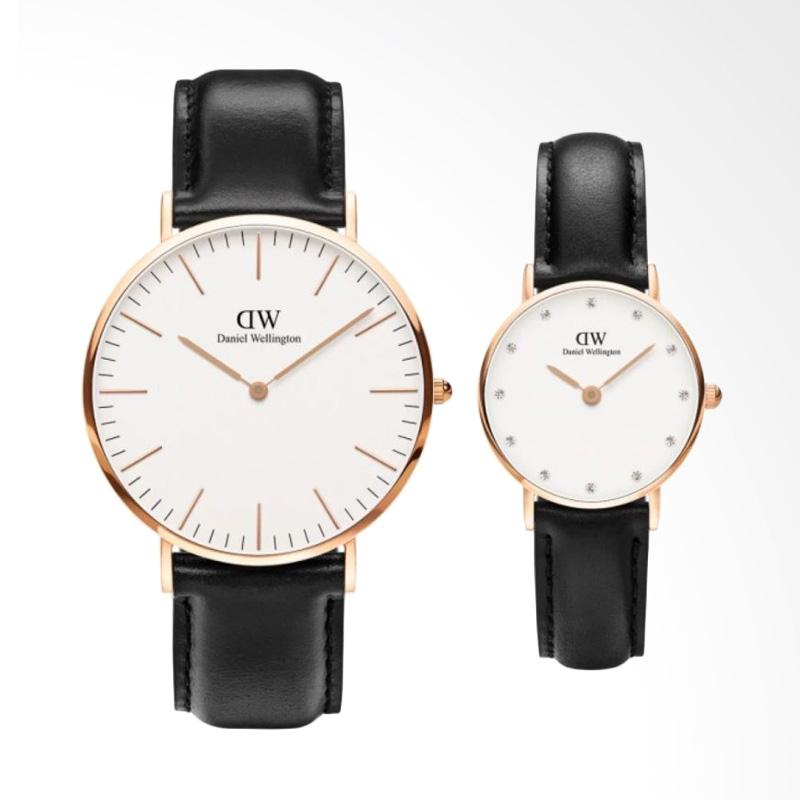 Daniel Wellington Couple Set Classic 40mm & Classy 26mm Sheffield Jam Tangan Couple - Hitam Rose Gold