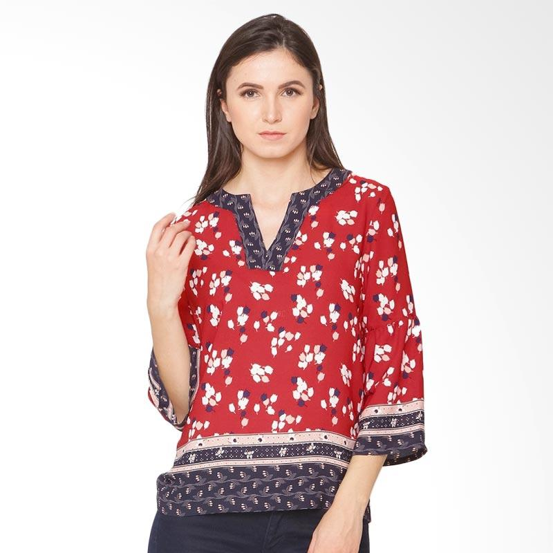 A&D Fashion MS 1026 Ladies Blouse Lng Sleeve - Red