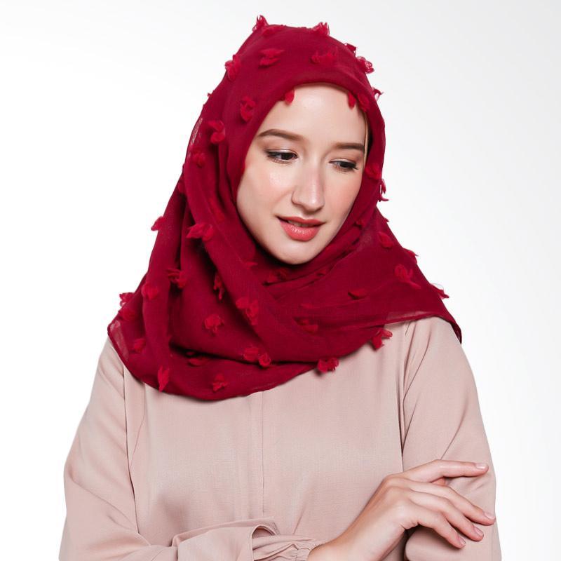 Beyola Rubiah Linen Hijab Segiempat - Maroon