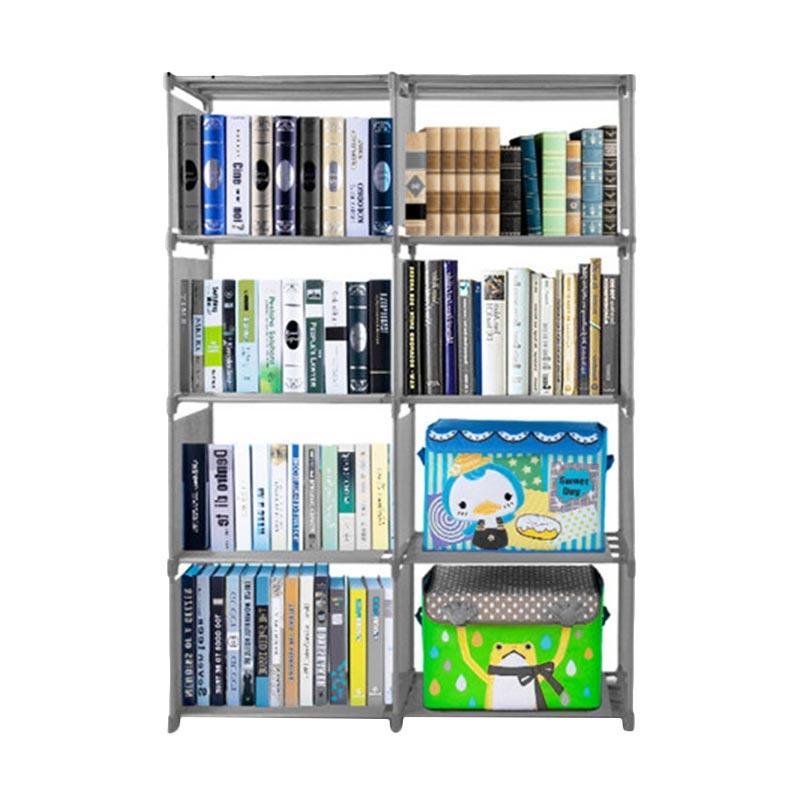 SJHOP 2 Sisi Rak Buku Serbaguna - Grey [85 x 30 x 125 cm]