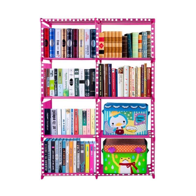 SJHOP Rak Buku Portable - Polkadot Pink [85 x 30 x 125 cm]