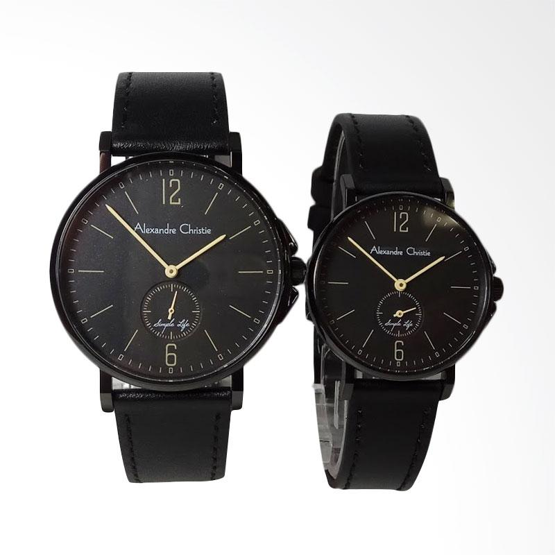 Alexandre Christie Simple Life Stainless Steel Leather Jam Tangan Couple