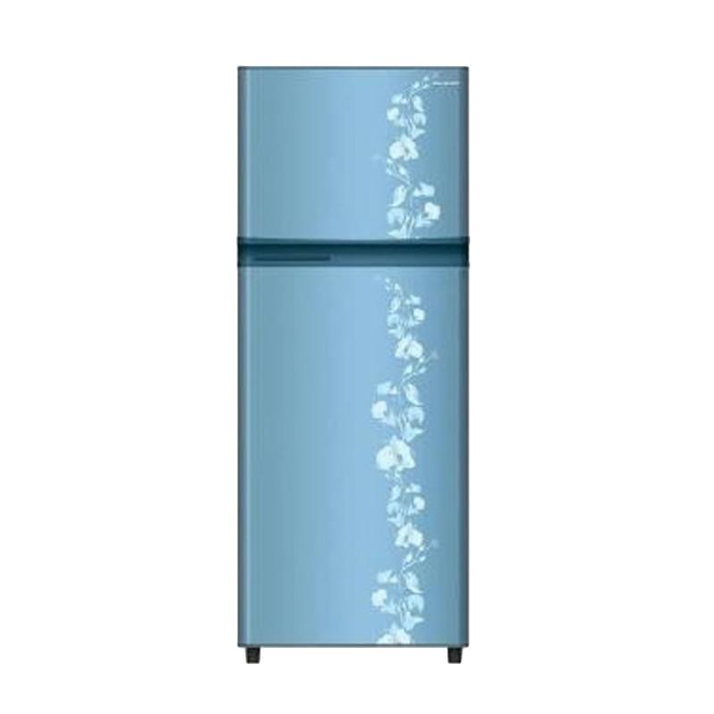 SHARP New Kirei SJ-196ND-FB Motif Bunga Kulkas - Blue [2 Pintu/172 L]