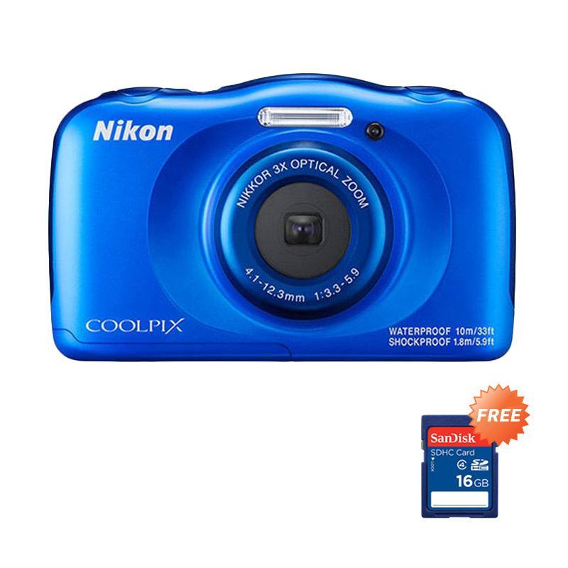harga Nikon Coolpix W100 Pocket - Biru RESMI + FREE Sandisk SDHC 16GB Blibli.com