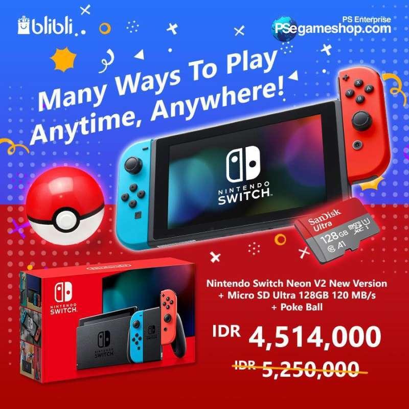 Bundle Anniversary Nintendo Switch Neon V2 New Version Micro SD Ultra 128GB 120 MB s Poke Ball