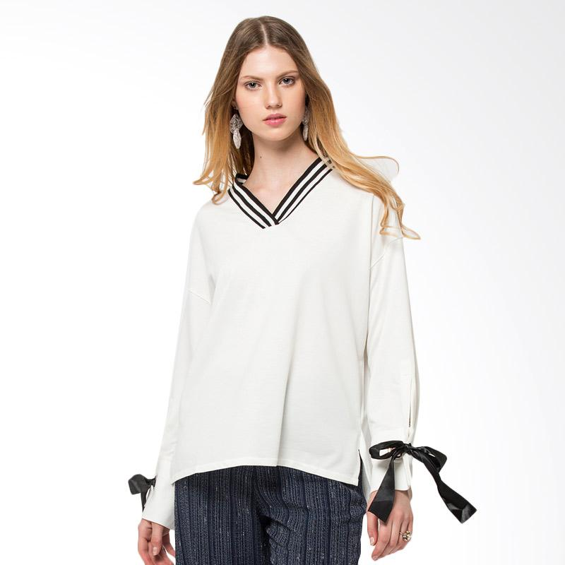 The Executive 5 Blkdyn118D088 Long Sleeve Blouse Off White