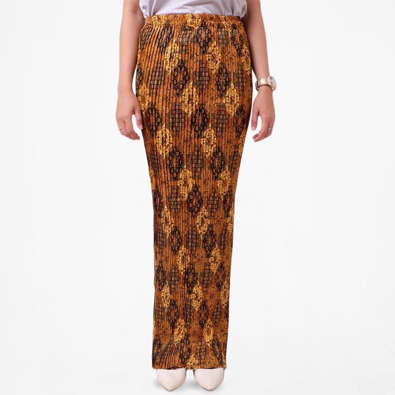 Batik Distro R1322 Jarik Plisket Rok Wanita - Coklat