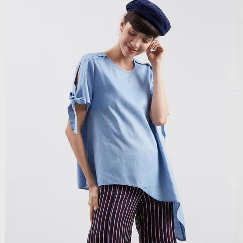 Point One 338580 Sharon Asymetrical Blouse Atasan Wanita Blue
